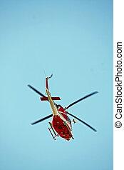 巡邏, 直升飛机, ......的, 消防人員, 在, 藍色的天空, 在上方, a, 火, 11