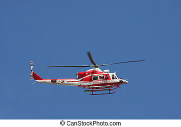 巡邏, 直升飛机, ......的, 消防人員, 在, 藍色的天空, 在上方, a, 火, 3