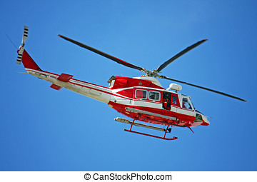 巡邏, 直升飛机, ......的, 消防人員, 在, 藍色的天空, 在上方, a, 火, 4