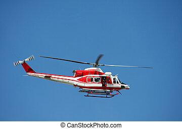 巡邏, 直升飛机, ......的, 消防人員, 在, 藍色的天空, 在上方, a, 火, 8