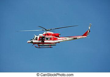 巡邏, 直升飛机, ......的, 消防人員, 在, 藍色的天空, 在上方, a, 火, 9