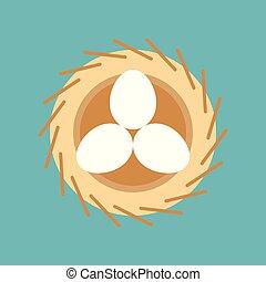 巢, 春天, 蛋, 鸟, 东方, 符号