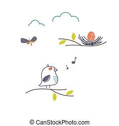 巢, 春天, 鸟, 唱, 矢量, illustration., 漂亮