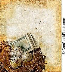 巢, 由于, 錢, 上, a, grunge, 背景