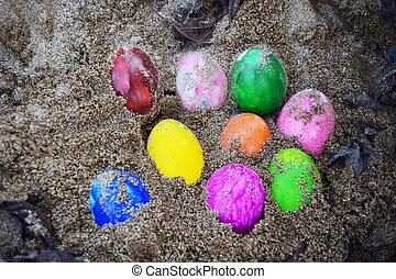 巢, 蛋, 復活節, 草地, 鮮艷