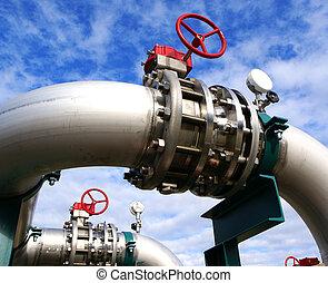 工业, 区域, 钢铁, 管道, 同时,, 阀门, 对, 蓝的天空