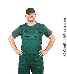 工人, 在, 綠色, overalls.