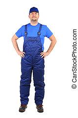 工人, 在, 藍色, overalls.