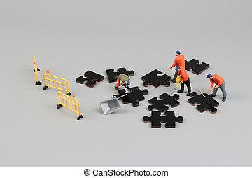 工人, 小雕像, 上, 難題 片斷