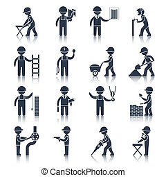 工人, 建设, 黑色, 图标