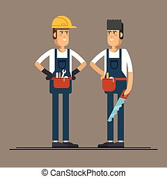 工人, 性格, 套间, 矢量, 建设, 夫妇