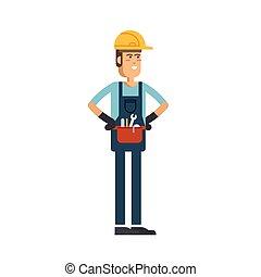 工人, 性格, 套间, 矢量, 建设