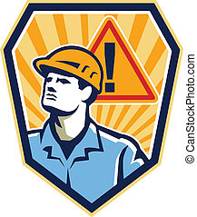 工人, 承包商, 建设, 警告, retro, 签署