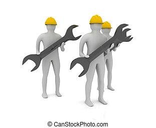 工人, 概念,  3D