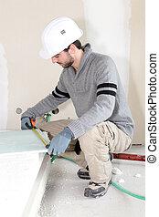 工人, 測量, 石膏板