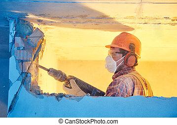 工人, 由于, 爆破, 錘子, 打破, 內部, 牆