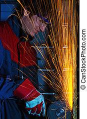 工人, 碾, 鐵