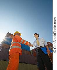 工人, 貨物, 手冊, 容器, 商人
