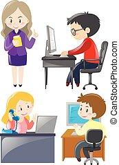 工人, 運作的 辦公室, 書桌