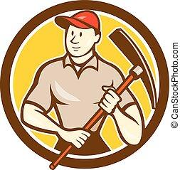 工人, pickaxe, 建设, 握住, 环绕, 卡通漫画
