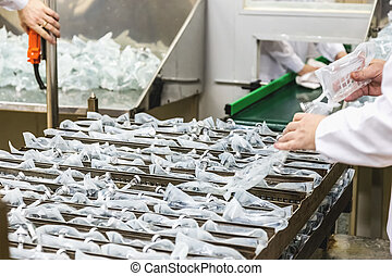 工人, sorts, 生產, 上, 配藥 產業, 製造