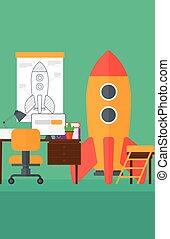 工作区, 开始, 商业, 背景, rocket.