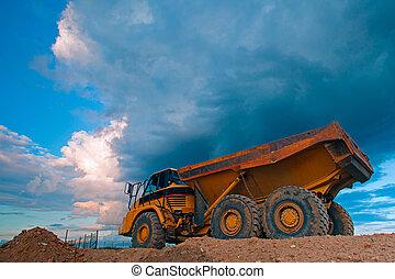 工作地點, 黃色, 卡車, 風暴, 以前
