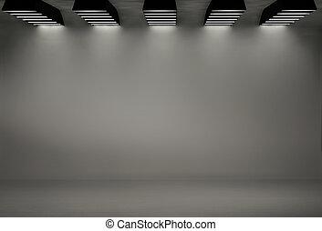 工作室, 背景, 由于, 五, softboxes
