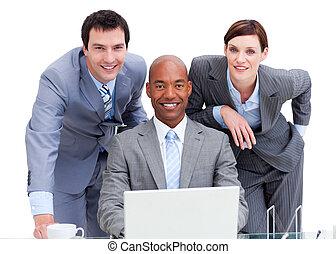 工作, 事務, 成功, 電腦, 隊人像