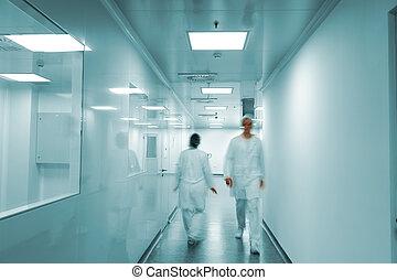 工作, 人們, 現代, 工廠, 運動, 明亮, 內部