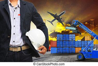 工作, 人, 以及, 容器, 船塢, 在, 陸地, 貨物, 後勤, freig