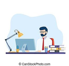 工作, 人, 辦公室書桌, 電腦, 事務