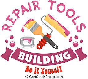 工作, 修理, 矢量, 工具, 签署