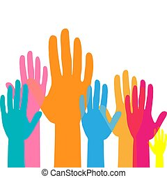 工作, 向上, 提高, 概念, 隊, hands., 手, 鮮艷, volunteering.