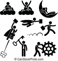 工作, 商人, 概念, 商业
