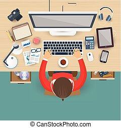 工作, 商業辦公室, 膝上型, 工作場所, 人
