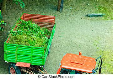 工作, 在, 公園, 拖拉机, 由于, 拖車