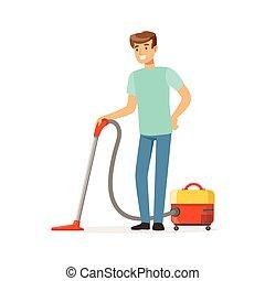 工作, 地板, 房子, 年轻, 描述, 矢量, 打扫, 清洁工, 真空, 家, 微笑, 丈夫, 人