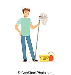 工作, 地板, 房子, 扫荡水桶, 年轻, 描述, 矢量, 水, 家, 微笑人, 丈夫, 打扫