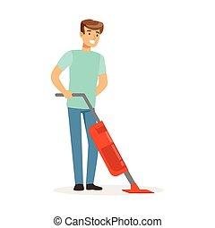 工作, 地板, 房子, 扫荡, 年轻, 描述, 矢量, 打扫, 清洁工, 家, 微笑, 蒸汽, 丈夫, 人