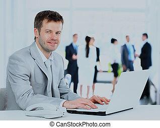 工作, 坐, 辦公室, 年輕, desk., 商人