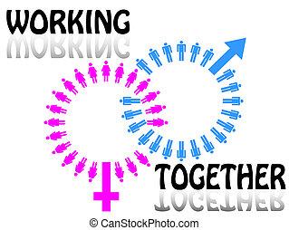 工作, 婦女, concept., 人, 隊