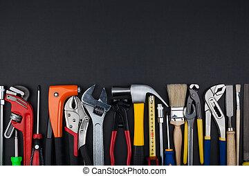 工作, 工具, 在上, 黑色, 背景。