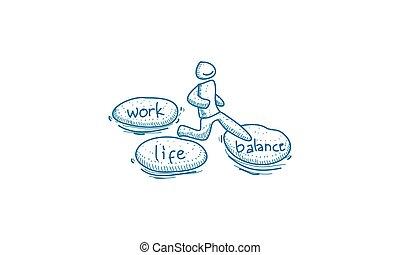 工作, 平衡, 生活, 矢量, 樣板