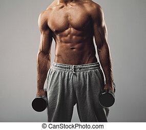 工作, 年輕, 肌肉, 重量, 人, 在外