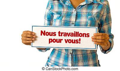 工作, 我們, 讓,  french), 你,  (in