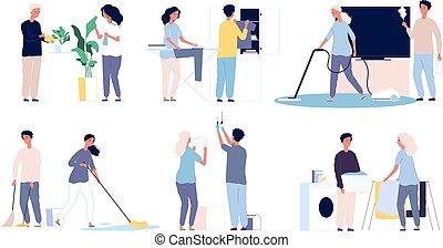 工作, 打扫, 女性, 他的, 男性, 性格, 开心, 人们, 家庭, 家, 房间, 矢量, family.