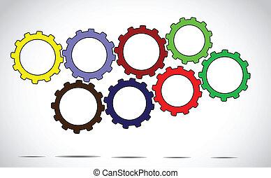 工作, 概念, 齒輪, 鮮艷, 隊