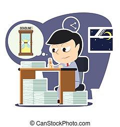 工作, 疲倦, 應付款, 超時, 最終期限, 商人