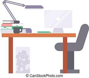 工作, 矢量, 地方, illustration.